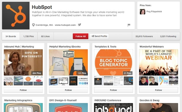 Screenshot of Hubspot's Pinterest page