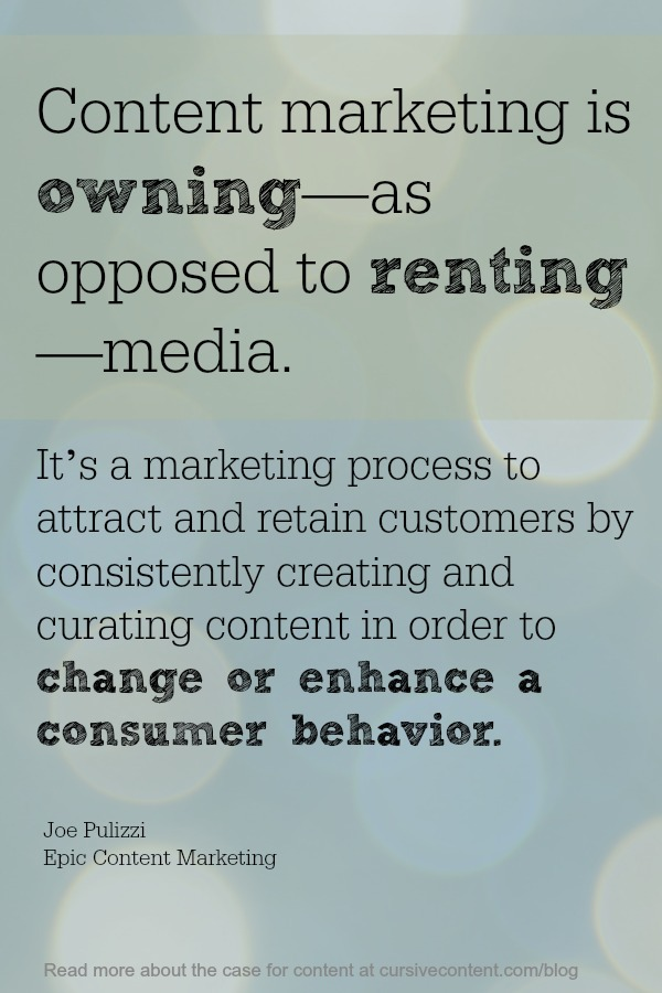 content marketing definition by joe pulizzi epic content marketing