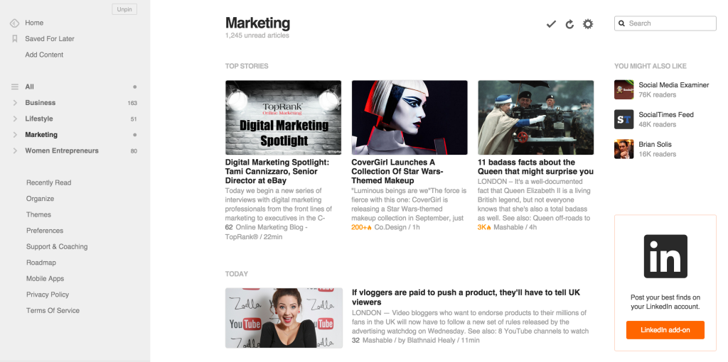 Feedly marketing feed, emily cretella cursive content marketing