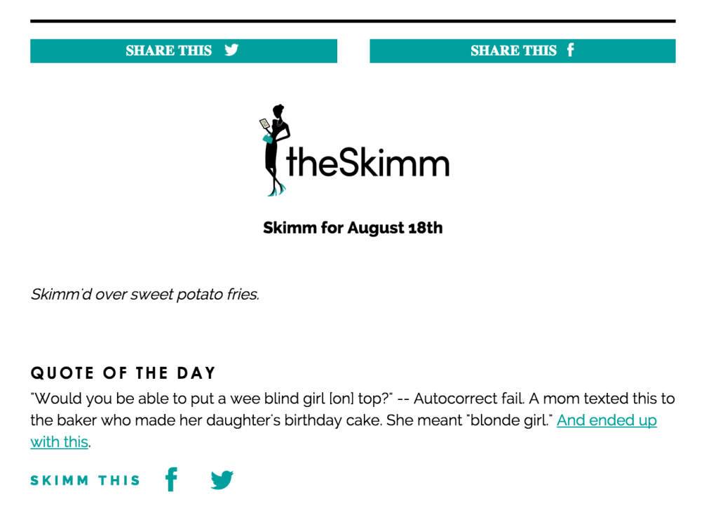 The Skimm email