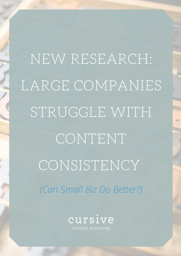 New Research- Large Companies Struggle with Content Consistency. Can Small Biz Do Better